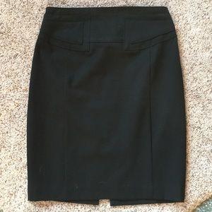 EUC Black Pencil Skirt w/ back belt detail